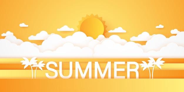 Horário de verão, paisagem com nuvens, céu nublado e sol forte, estilo de arte em papel