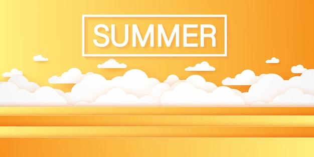 Horário de verão, paisagem com nuvens, céu nublado, estilo de arte em papel