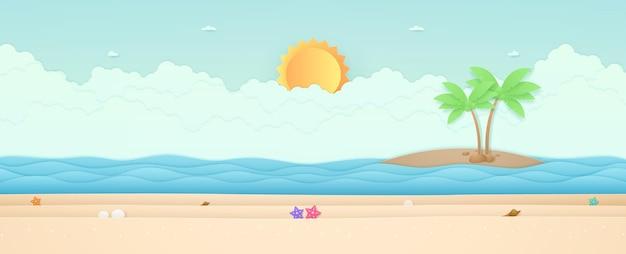 Horário de verão, paisagem marinha, estrela do mar na praia com o mar e a ilha com o sol forte no céu