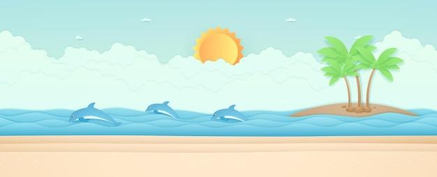 Horário de verão paisagem marinha, golfinhos nadando na praia do mar e coqueiros na ilha