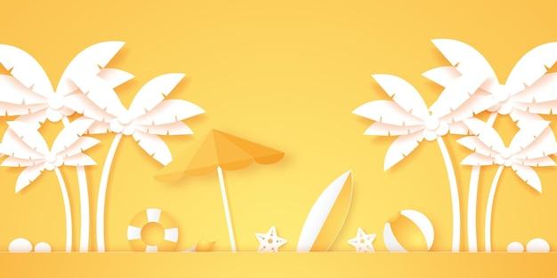 Horário de verão, palmeira de coco com coisas de verão, estilo de arte em papel