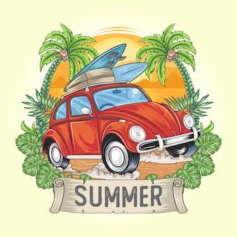 Horário de verão para férias com arte de carro e prancha de surf