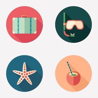 Horário de verão plana rodada ícone conjunto.