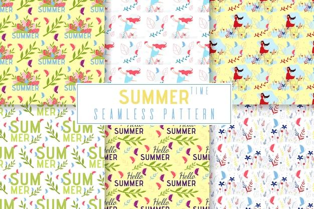 Horário de verão sem costura padrão definido no estilo de selva floral