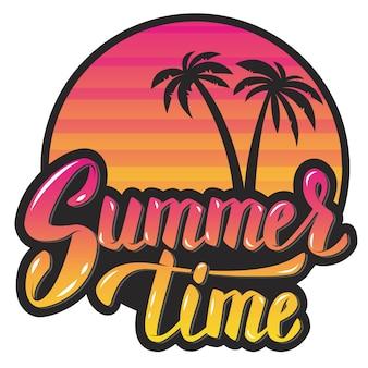 Horário de verão. sol da noite e palmeiras. frase de letras de mão. elemento para cartaz, cartão de felicitações. ilustração.