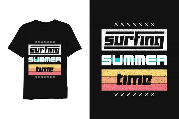 Horário de verão surf, letras t-shirt vermelho amarelo azul moderno estilo simples