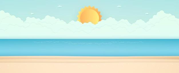 Horário de verão, vista do mar, paisagem, mar azul com praia, nuvem e sol forte, estilo de arte em papel