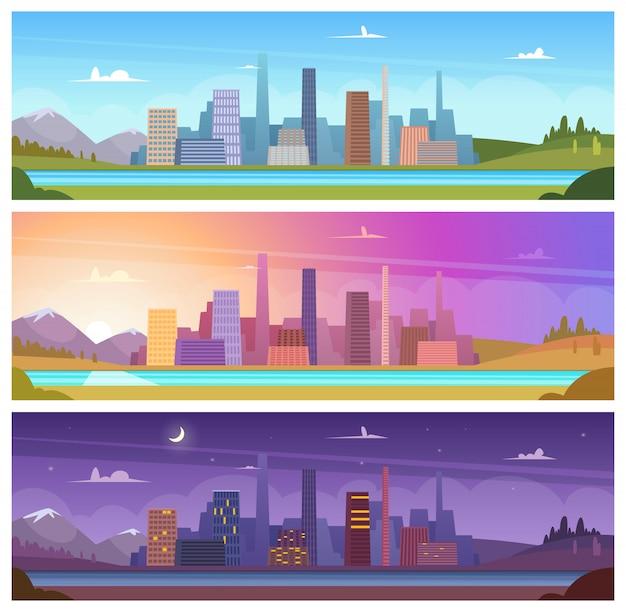 Horário diferente do dia. noite, manhã, noite, dia, ao ar livre, cidade, paisagem, desenhos animados, fundos