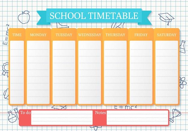 Horário escolar. agenda para crianças. modelo de plano de aluno em papel quadriculado com ícones de escola linear.
