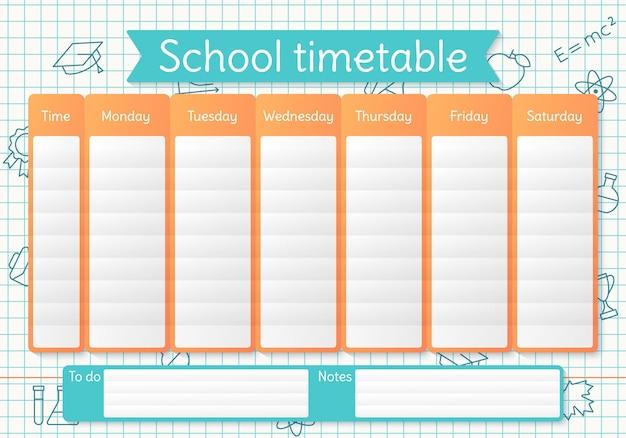 Horário escolar. agenda para crianças. tabela de tempo semanal