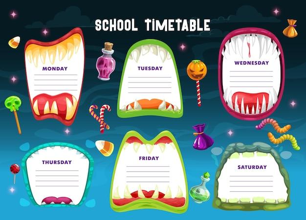 Horário escolar com bocas de monstro de halloween