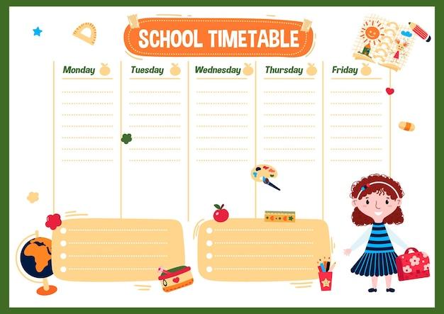 Horário escolar com dia da semana gráfico para aulas semanais