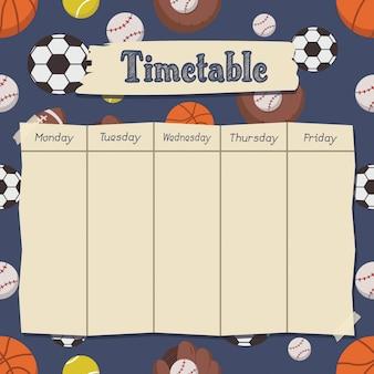 Horário escolar com esportes