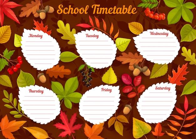 Horário escolar com folhas de outono, horário semanal