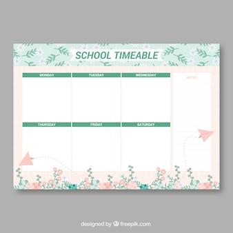 Horário escolar com folhas e aviões de papel
