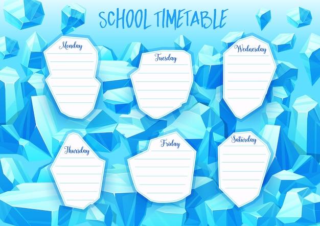 Horário escolar com gemas de cristal azul, joias e pedras minerais.