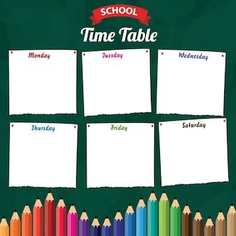 Horário escolar com lápis de cor
