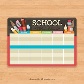 Horário escolar com lápis e escovas