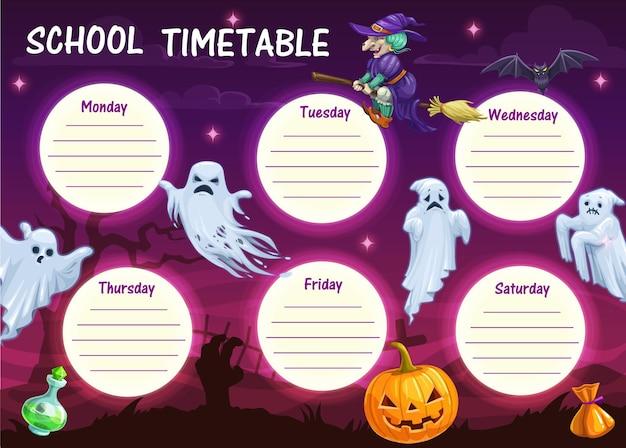 Horário escolar com monstros de desenhos animados de halloween