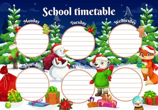 Horário escolar com personagens de animais de natal