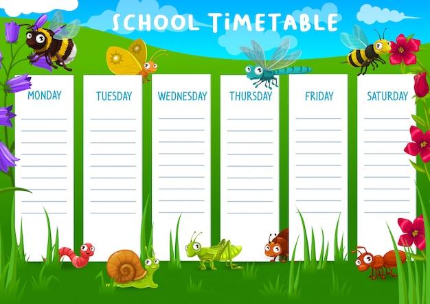 Horário escolar com prado e insetos