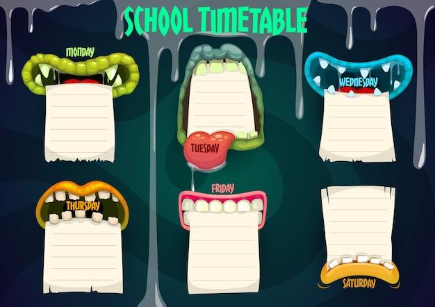 Horário escolar de educação com bocas de monstro de desenho animado