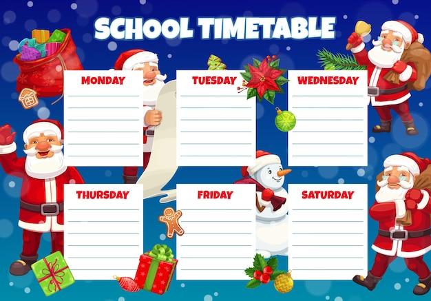 Horário escolar de natal para crianças com o papai noel