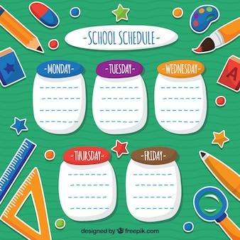 Horário escolar divertido com materiais escolares