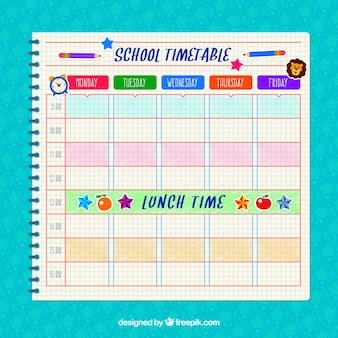 Horário escolar do caderno