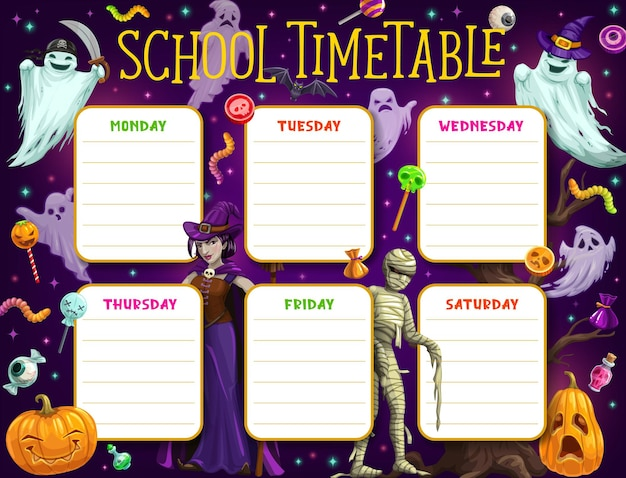 Horário escolar, horário das crianças ou plano de educação com quadro de fundo vector de monstros de halloween. planejador de estudos semanais de aulas ou tabelas de aulas com abóboras de terror de desenhos animados, fantasmas e bruxas