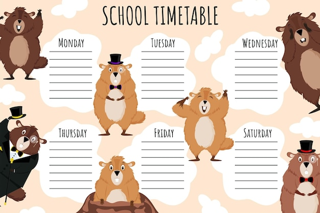 Horário escolar. modelo de vetor de programação semanal para alunos da escola, decorado com marmotas engraçadas.