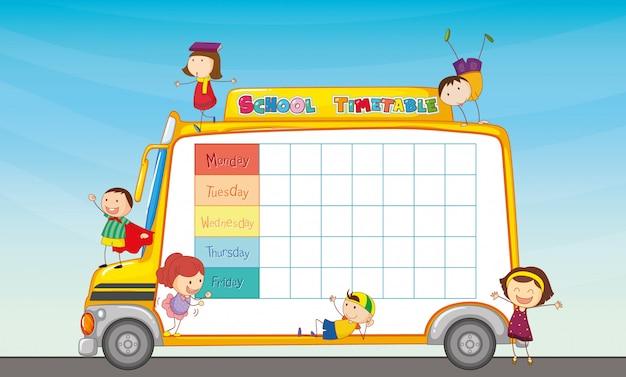 Horário escolar no ônibus escolar