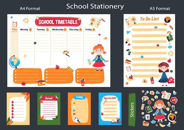 Horário escolar para a semana planejador de programação plano de aulas de educação memorando adesivos para crianças lista de tarefas