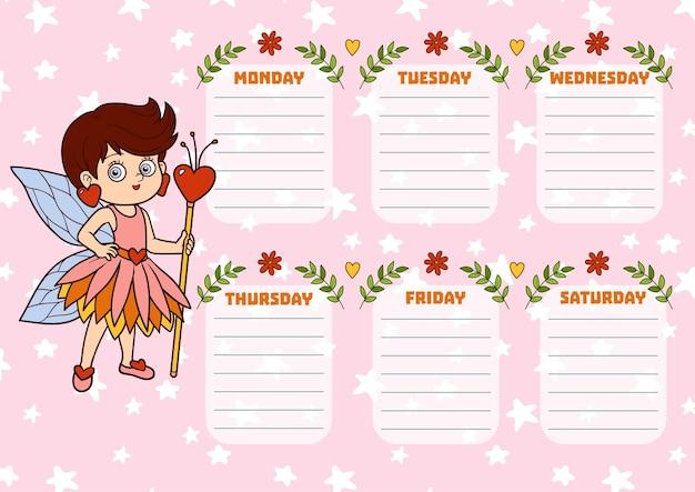 Horário escolar para crianças com dias da semana. garota fada dos desenhos animados coloridos