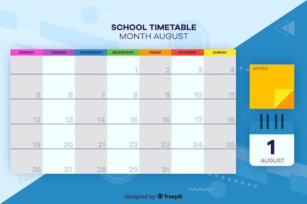 Horário escolar para crianças, planejador semanal