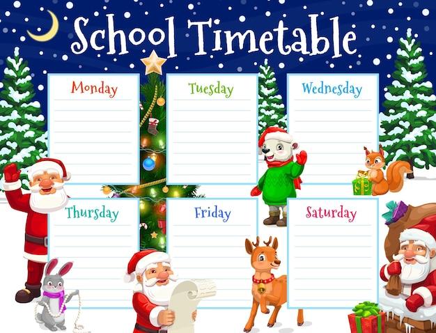 Horário escolar, personagens de natal