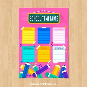 Horário escolar rosa