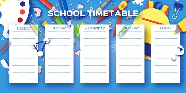 Horário escolar semanal. equipamento escolar em todos os dias. cronograma infantil, modelo de currículo semanal, início da escola, aluno, aula 1 2 3, azul