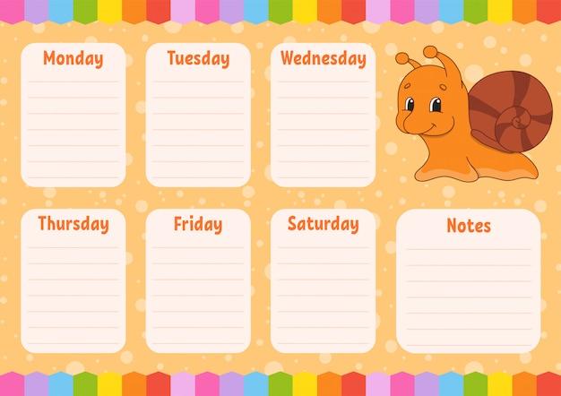 Horário semanal da escola.