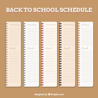 Horários escolares em cadernos