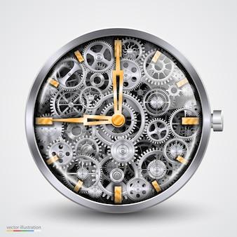 Horas de engrenagens. criação de arte. ilustração vetorial