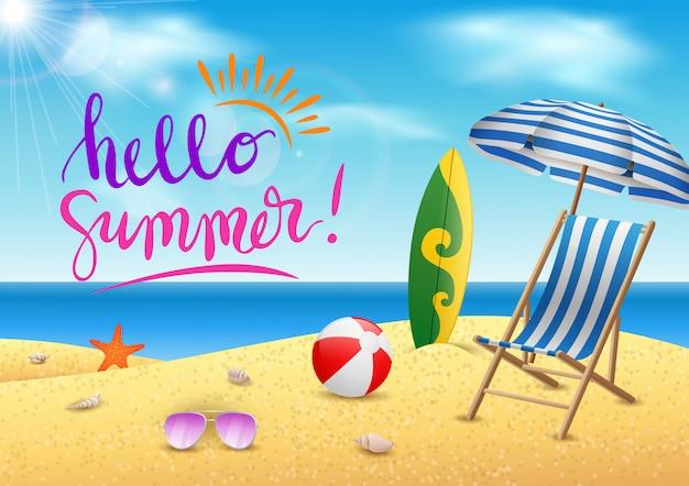 Horas de verão da ilustração, mar, praia com o céu azul da beleza.