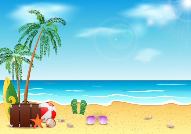 Horas de verão, mar, praia e coqueiro com o céu azul da beleza.