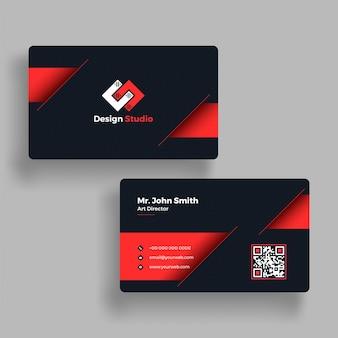 Horizontal, cartão de visita horizontal com apresentação frontal e posterior.