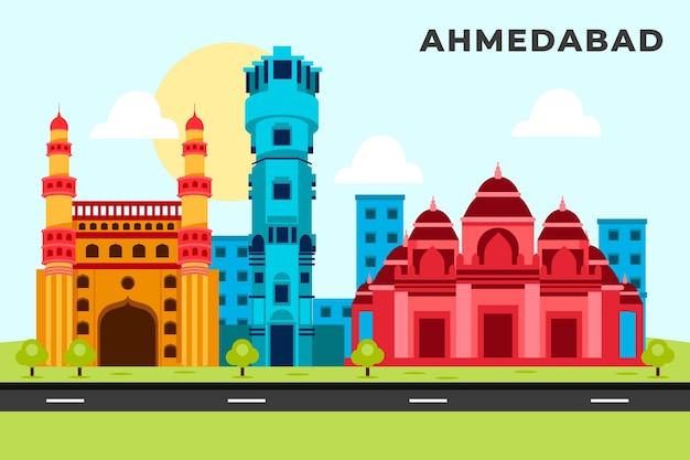Horizonte colorido de ahmedabad