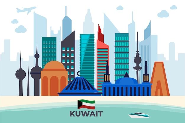 Horizonte colorido de kuwait