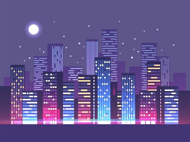 Horizonte da cidade à noite com ilustração de luzes de néon
