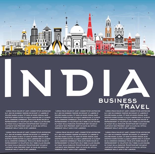 Horizonte da cidade da índia com edifícios coloridos, céu azul e espaço para cópia delhi mumbai bangalore chennai