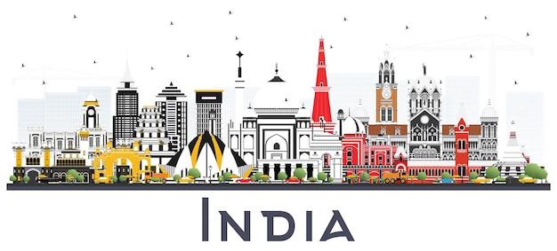 Horizonte da cidade da índia com edifícios coloridos isolados no branco delhi mumbai bangalore chennai