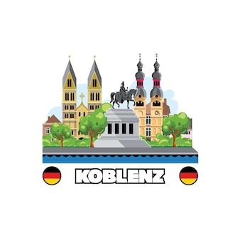 Horizonte da cidade de koblenz com arquitetura e monumentos da paisagem urbana.